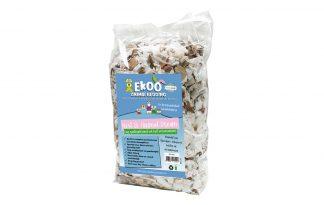 Het Ekoo Nest & Animal Dream nestmateriaal is het meest veilige en comfortabele product van dit moment in verschillende kleuren in een mix. Het nestmateriaal is gemaakt van babykleertjes, theezakjes en uitgeperst katoenzaad.