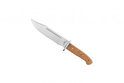 Het Adola Bowie mes heeft een houten handgreep. Daarnaast is hij voorzien van een lederen etui met dubbele drukknoop tegen verlies. Er zit ook een RVS vinger bescherming op.
