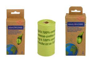 De Animal Boulevard composteerbare poepzakjes zijn gemaakt van gecertificeerd composteerbaar materiaal op basis van maiszetmeel. Composteerbaar materiaal breekt op natuurlijk wijze af.