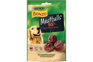 De Bonzo Meatballs zijn kleine, super lekker snacks voor uw trouwe viervoeter. Uw hond zal dit verrukkelijk vinden, doordat deze meatballs rijk aan rund zijn.