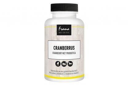 De Frama Cranberrus is een probiotica gemaakt van cranberry's. Deze probiotica zorgt voor een goede blaasfunctie met behulp van kruiden(extracten).