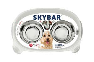 De Moderna Skybar dubbel voederstandaard helpt uw huisdier comfortabel te eten en drinken. Hij is voorzien van een antislip laag onder de poten, zodat hij niet kan weg glijden.