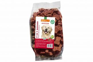 Biofood 3-in-1 hondenkoekjes zijn gezonde en smaakvolle mineralenkoekjes voor honden met een ontlasting- of diarreeprobleem en/of mineralentekort, waardoor deze gras of ontlasting eten.