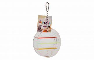 Het Petlala wiel is gemaakt van acryl en een foerageerspeelgoed. Het speelgoed is geschikt voor kromsnavels zoals papegaaien en grote parkieten. Het speeltje kan opgehangen worden in de kooi.