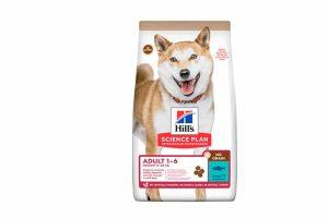 Hill's Science Plan Adult Small No Grain Tuna is een speciaal ontwikkeld droogvoer zonder gluten en granen. Door de heerlijke smaak en een optimaal voedingsstofgehalte is deze voeding perfect voor de dagelijkse maaltijd van uw hond. De tonijn geeft een heerlijke smaak wat door veel honden zelden wordt afgeslagen! Ook dient tonijn als bron van hoogwaardige eiwitten. Daarnaast voorziet het compleetvoer van Hill's uw hond van waardevolle omega-vetzuren en vitamine E.