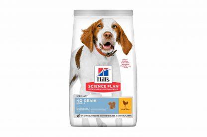 Hill's Science Plan Adult No Grain Kip is een speciaal ontwikkeld droogvoer zonder gluten en granen. Door de heerlijke smaak en een optimaal voedingsstofgehalte is deze voeding perfect voor de dagelijkse maaltijd van uw hond. De kip geeft een lekker smaakje waardoor de dagelijkse maaltijd een feestje wordt! Ook dient kip als bron van hoogwaardige eiwitten. Daarnaast voorziet het compleetvoer van Hill's uw hond van waardevolle omega-vetzuren en prebiotica.