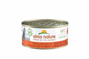 Almo Nature HFC Natural - kip met pompoen is een heerlijke natvoeding volgens het bekende en traditionele receptuur van Almo Nature. Katten zijn van nature vleesetende roofdieren.