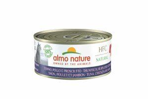 Almo Nature HFC - tonijn met kip en ham is een heerlijke natvoeding volgens het bekende en traditionele receptuur van Almo Nature.