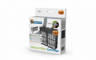 De SuperFish Hang on Filter Cartridge bevat een Dual-Action filtercartridge. De filtercartridge bestaat uit Carbon-filterfoam en 2 Micro-filtermatten. De actieve kool absorbeert kleur- en giftige stoffen uit het water terwijl de pH-waarde neutraal blijft. Het resultaat is glashelder, gezond water.