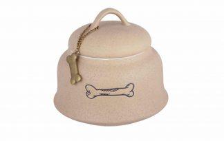Speciaal gemaakt om de beloningen extra lang vers te houden. Deze middelgrote pot is uitgevoerd in zandsteenlook en heeft de afdruk van een hondenbotje.