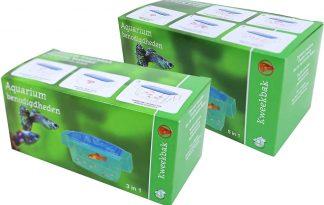 De Kweekbak drijvend met zuigers is een multifunctionele drijvende kweekbak met zuigers. De kweekbak is transparant met een lichtblauwe transparante deksel. De kweekbak is in twee modellen beschikbaar, zowel in de 3in1 en 5in1.