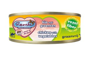 Renske kat verse kip met groente vezel is een smakelijke aanvullende natvoeding voor katten. Door het hoge gehalte kip, is dit een zeer licht verteerbaar en smakelijke maaltijd. Renske's ingrediënten zijn 100% natuurlijk en afkomstig van bronnen geschikt voor menselijke consumptie.
