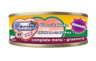 Renske kat verse kip met kalkoen in mousse is een smakelijke complete natvoeding voor katten. Door het hoge vleesgehalte, is dit een zeer licht verteerbaar en smakelijke maaltijd. Renske's ingrediënten zijn 100% natuurlijk en afkomstig van bronnen geschikt voor menselijke consumptie.