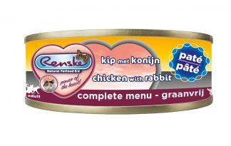 Renske kat verse kip konijn met paté in blik is een smakelijke complete natvoeding voor katten. Door het hoge gehalte kip, is dit een zeer licht verteerbaar en smakelijke maaltijd. Renske's ingrediënten zijn 100% natuurlijk en afkomstig van bronnen geschikt voor menselijke consumptie.