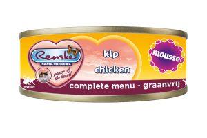 Renske kat verse kip met mousse in blik is een smakelijke complete natvoeding voor katten. Door het hoge kip gehalte, is dit een zeer licht verteerbaar en smakelijke maaltijd. Renske's ingrediënten zijn 100% natuurlijk en afkomstig van bronnen geschikt voor menselijke consumptie.
