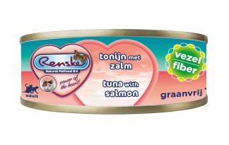 Renske kat verse tonijn met zalm vezel is een smakelijke aanvullende natvoeding voor katten. Door het hoge gehalte tonijn, is dit een zeer licht verteerbaar en smakelijke maaltijd. Renske's ingrediënten zijn 100% natuurlijk en afkomstig van bronnen geschikt voor menselijke consumptie.