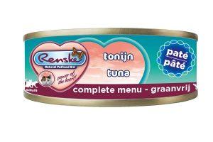 Renske kat verse tonijn met paté in blik is een smakelijke complete natvoeding voor katten. Door het hoge tonijn gehalte, is dit een zeer licht verteerbaar en smakelijke maaltijd. Renske's ingrediënten zijn 100% natuurlijk en afkomstig van bronnen geschikt voor menselijke consumptie.