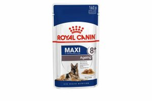 Royal Canin Maxi Ageing 8+ Wet is natvoeding voor grote oudere honden vanaf 8 jaar met een volwassen gewicht van 25 tot 45 kilo. Met Maxi Ageing 8+ Wet ondersteun je het gezond ouder worden van je hond.