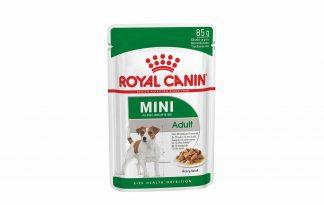 Royal Canin Mini Adult Wet is voeding voor kleine honden van 10 maanden tot 12 jaar met een volwassen gewicht van 1 tot 10 kilo. Het ondersteunt een gezonde spijsvertering en een evenwichtige darmflora.