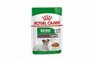 Mini Ageing 12+ Wet is natvoeding voor kleine oude honden vanaf 12 jaar met een volwassen gewicht van 1 tot 10 kilo. Vanaf een leeftijd van 12 jaar kan je hond last krijgen van ouderdomsverschijnselen.