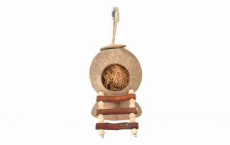 Duvo+ Coconut Jungle huis met ladder creëert op een natuurlijke manier een leuke schuil- en slaapplaats voor de kleine knagers, zodat ze een veilig gevoel krijgen.
