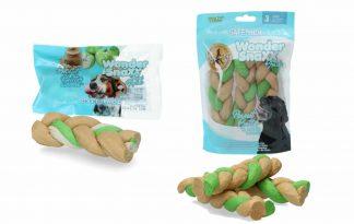 De Wonder Snaxx Braid Pinda en appel is gemaakt van gedroogde dierenhuid en daardoor een lekkere en gezonde snack voor honden.