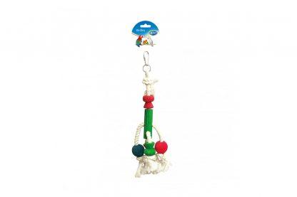 Het Duvo+ touw met kleurrijke blokjes is gemaakt van stevig katoen in combinatie met geverfde houten blokjes en balletjes, welke uiteraard veilig zijn voor vogels.