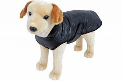 De deze hondenjas gewatteerd nylon zwart is een warme jas voor je hond. De gewatteerde vulling met stiksel zorgt niet alleen voor een hippe look, maar zorgt er ook voor dat het jasje winddicht is.