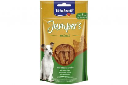 De Vitakraft Jumper's Mini's kipstickjes zijn perfect om jouw hond mee te belonen tijdens wandelingen of trainingen, doordat ze zijn gemaakt van mager kippenvlees. De snack bevat daardoor met 3 kcl per stuk.