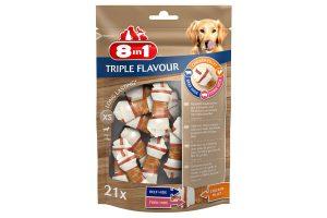De 8in1 Triple Flavour knoopkluif is een heerlijke snack voor jouw hond! Het bot is gemaakt van varkenshuid en runderhuid, omwikkeld met heerlijke kipfilet. Verkrijgbaar in diverse maten, zodat er voor elke hond een geschikte kluif bij zit.