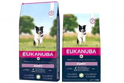 Eukanuba Puppy Small Medium Lam & Rijst is een droogvoer in brokvorm en rijk aan lam en rijst. Perfect voor opgroeiende pups van kleine en middelgrote rassen met een leeftijd van 1 tot 12 maanden.