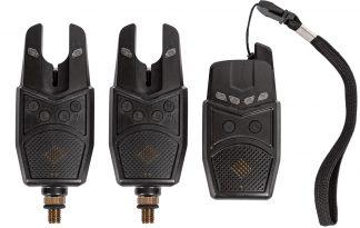 De Acis XI Bite Alarmset is uitgevoerd met 2 piepers en een draadloze ontvanger. Het volume is instelbaar, hierdoor ook goed op druk terrein te gebruiken. Deze piepers werken met een 9 volt batterij, deze is niet meegeleverd.