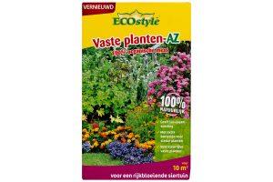 De ECOstyle Vaste planten AZ is een complete en 100% natuurlijke meststof speciaal voor siertuinen. De unieke samenstelling is afgestemd op de behoefte van vaste (sier)planten. Zo is de meststof verrijkt met micro-organismen protozoa, waardoor de planten een betere opname van voedingsstoffen uit de bodem hebben.