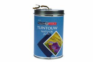 Talen Tools Tuintouw jute in blik is zeer handig om ervoor te zorgen dat (jonge) planten rechtop groeien. Perfect te combineren met de Tonkinstok, zodat je op een eenvoudige manier ondersteuning kan bieden.