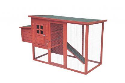 Het Duvo+ Woodland Hollie kippenhok is voorzien van een grote ren, legbak, loopplank en nachthok. Dit verblijf is zeer geschikt voor kippen, maar ook voor andere kleinere dieren. Door de legbak aan de buitenzijde verzamel je eenvoudig de eieren.