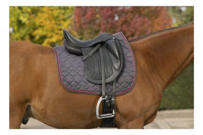 HetEqui-Thème zadeldek Double Rope is voorzien van verschillende speelse stiksels. Daarnaast is het zadeldek voorzien van een zachte schuimvulling en gemaakt van 100% polyester. De mesh voering heeft een ademend vermogen, waardoor het fijn draagt voor paarden of pony's.