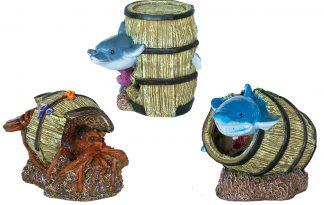 De Deco Barrel is een mooie decoratie voor in het aquarium. Met deze serie van tonnen met daarbij een waterdier is het daarnaast mogelijk om een vrolijke sfeer te creëren in je aquarium.