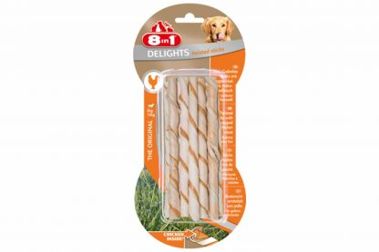 De 8in1 Delights Chicken Twist sticks zijn een echte traktatie voor honden. Het snack is gemaakt van runderhuid gewikkeld in vetarm kippenvlees, waardoor honden er dol op zijn. Door het gebruik van runderhuid ondersteun je een gezond gebit, doordat je tandplak voorkomt