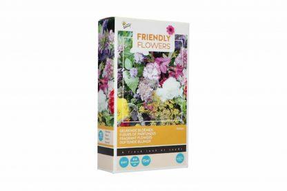 Het Buzzy Friendly Flowers geurende bloemen bloemenmengsel bestaat uit meer dan 15 soorten bloemen, onder andere Agastache foeniculum en Mirabilis Jalapa.