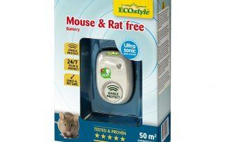 DeECOstyle Mouse & Rat Free 50m² (battery) rat- en muisverjager is een hygiënische, eenvoudige en effectieve manier om van muizen en ratten af te komen met behulp van ultrasoon geluid. Mouse & Rat free is ecologisch vriendelijk door het vermijden van het gebruik van gif. Hierdoor is het ook onschadelijk voor kinderen, katten, honden, vogels en vissen.
