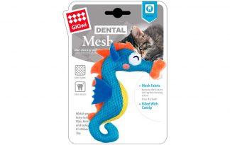 Het GiGwi Dental Mesh zeepaardje is gemaakt van mesh, dit ondersteunt een gezond gebit bij katten. Het materiaal zorgt voor een verhoogde wrijving tijdens het kauwen en heeft daardoor een reinigend effect. Het speeltje is voorzien van kattenkruid, waardoor katten er erg gek op zijn.