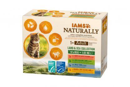 De Iams Naturally Adult Land and Sea Collection bestaat uit vier heerlijke smaken, waardoor je jouw kat elke dag kan verwennen met een ander smaakje. Gemaakt van natuurlijke en goed verteerbare ingrediënten en heeft daardoor een evenwichtig en volwaardige receptuur.