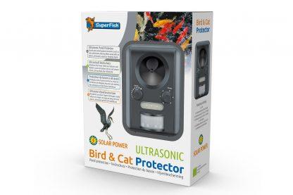 De Superfish Bird & Cat Protector is een ultrasone vijverbeschermer met bewegingssensor. De sensor detecteert ongewenste bezoekers en verjaagt deze met een alarm, ultrasoon geluid en/of lichtflitsen (LED). Daarnaast is de beschermer eenvoudig te installeren