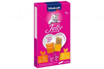 De Vitakraft Jelly Lovers kattensnack is verkrijgbaar in twee smaken, waardoor jij jouw kat kan blijven verassen en verwennen. De snack bevat veel vocht en is daardoor zeer geschikt voor katten die (te) weinig water drinken.