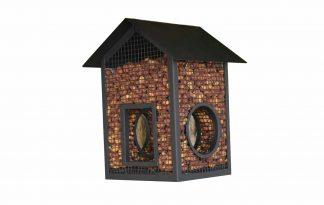 Het Vogelvoederhuisje met vier openingen is zeer geschikt om te vullen met bijvoorbeeld pinda's. Het voerhuisje heeft twee ronde en twee vierkanten openingen, waardoor vogels op meerdere plekken bij de pinda's kunnen.