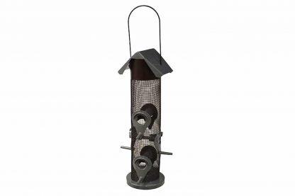 De voedersilo met zes openingen biedt ruimte voor veel vogeltjes. Een voersilo zorgt ervoor dat vogels op een natuurlijke wijze eten, daarnaast voorkomt de kleine opening dat grote vogels het voer wegpikken.