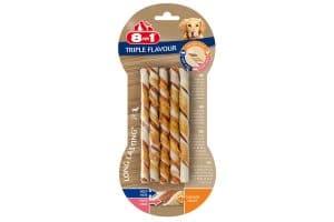 De 8in1 Triple Flavour Gedraaide sticks zijn gemaakt van varkens- en runderhuid, omwikkeld met kipfilet. Een heerlijke snack voor uw hond. Langdurig kauwplezier helpt tandsteen en plaque tegen te gaan.
