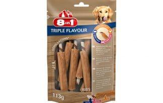 De 8in1 Triple Flavour Kauwribben is een heerlijke drielaagse kauwsnack met grote stukken smakelijke kipfilet in combinatie met varkens- en runderhuid.