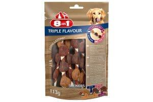 De 8in1 Triple Flavour Kauwvleugels is een heerlijke drielaagse kauwsnack met grote stukken smakelijke kipfilet, eendenborst en kippenlever in combinatie met varkens- en runderhuid.