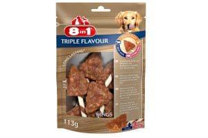 De 8in1 Triple Flavour Kauwvleugels is een heerlijke drielaagse kauwsnack met grote stukken smakelijke kipfilet in combinatie met varkens- en runderhuid.